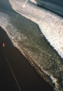 A beach scene from the air