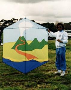 A rokkaku kite depicting a scene from Bali